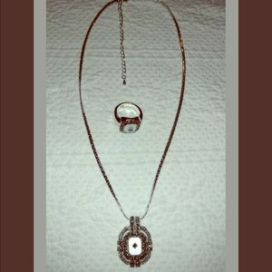 Marcasite & Mother of Pearl S.S. Necklace & Ring
